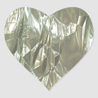 crumpled foil silver heart sticker