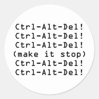 Ctrl-Alt-Del Round Sticker