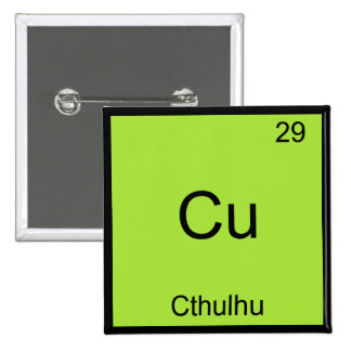 Cu - Cthulhu Funny Chemistry Element Symbol Tee 15 Cm Square Badge