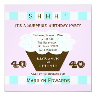 Cupcake 40th Surprise Birthday Party Invitation