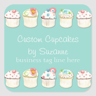 Cupcake Dessert Baking Bakery Business Identity Square Sticker