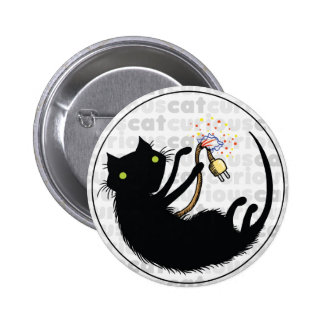 Curious Cat with Wire 6 Cm Round Badge