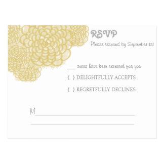 Custard Hydrangea Wedding Response Card Postcard