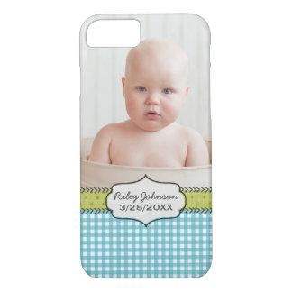 Custom baby boy photo name and birthday keepsake iPhone 7 case