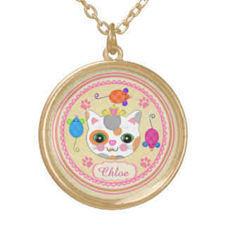 Custom Calico Cat Lover's Kitty Art Necklace
