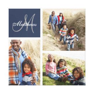 Custom Family Monogram Photo Collage Canvas Print