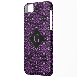Custom Initial Victorian Purple Fractal Pattern iPhone 5C Case