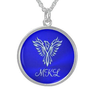Custom initials, Ice-blue Phoenix Rising emblem Round Pendant Necklace