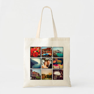 Custom Instagram Photo Collage Personalized Tote Budget Tote Bag