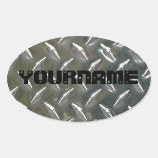 Custom Metal Work Name plate Oval Sticker