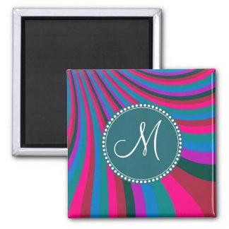 Custom Monogram Groovy Magenta Blue Stripes Square Magnet