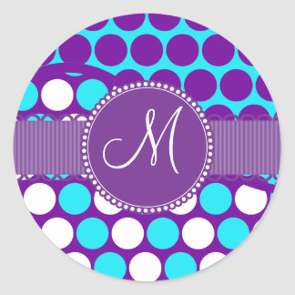 Custom Monogram Initial Teal Purple Polka Dots Round Sticker