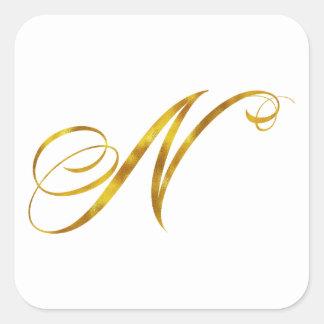 Custom Monogram N Faux Gold Foil Monograms Initial Square Sticker