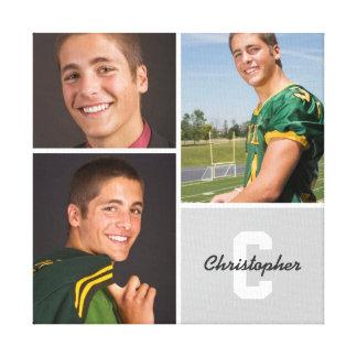 Custom Monogram Senior Photo Collage Canvas Print