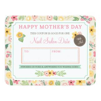 Custom Mother's Day Gift Coupon by Origami Prints 11 Cm X 14 Cm Invitation Card