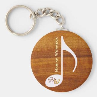 custom music note on wood basic round button key ring