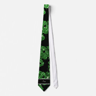 Custom name green glitter ballroom dancing tie