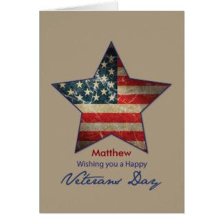 Custom Name, Matthew, Happy Veterans Day, Old Flag Greeting Card