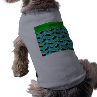 Custom name turquoise christmas pudding pattern sleeveless dog shirt