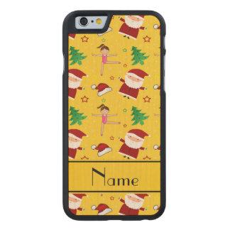 Custom name yellow christmas gymnastics santas carved® maple iPhone 6 slim case