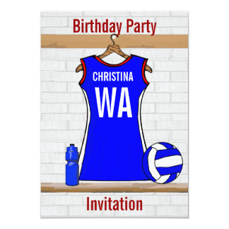 Custom Netball Uniform  Blue with red and White 13 Cm X 18 Cm Invitation Card