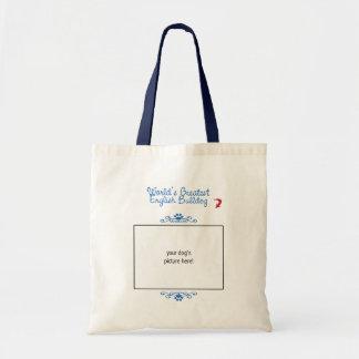 Custom Photo! Worlds Greatest English Bulldog Budget Tote Bag