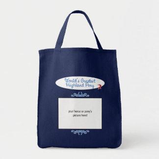 Custom Photo! Worlds Greatest Highland Pony Grocery Tote Bag
