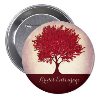 Custom red heart leaves bride's entourage button