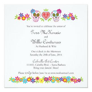 Custom Sugar Skulls and Flowers - Blue Background 13 Cm X 13 Cm Square Invitation Card