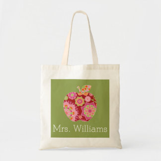 Custom Teacher Apple with Trendy Floral Pattern Budget Tote Bag