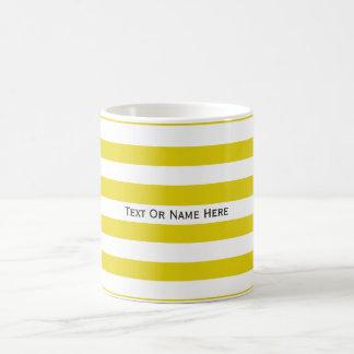 Custom Text Name Citrine Yellow & White Stripes Basic White Mug