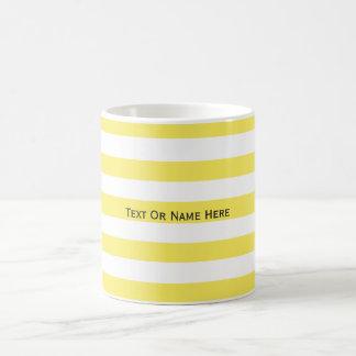 Custom Text Name Corn Yellow & White Stripes Basic White Mug