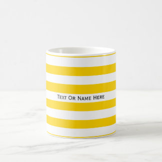 Custom Text Name Cyber Yellow & White Stripes Basic White Mug