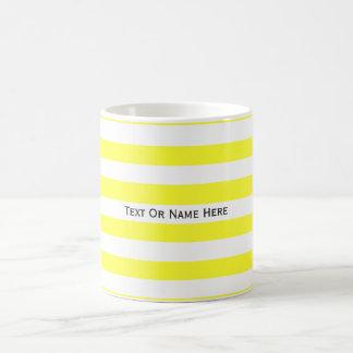 Custom Text Name Daffodil Yellow & White Stripes Basic White Mug