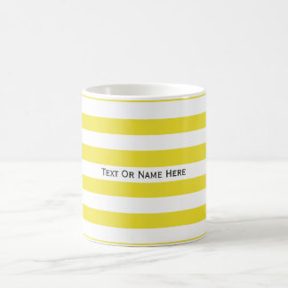 Custom Text Name  Dandelion Yellow & White Stripes Basic White Mug