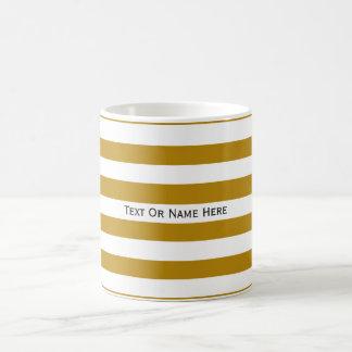 Custom Text Name Mustard Yellow & White Stripes Basic White Mug