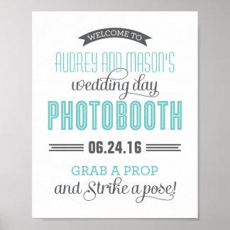 Custom Wedding Photo Booth Sign | Aqua Blue Gray Poster