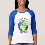 Customise Earth Day Every Day blue sparkles Globe T-shirts