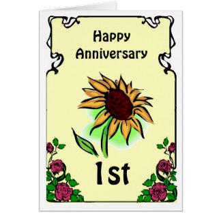 Customizable anniversary card -sunflower