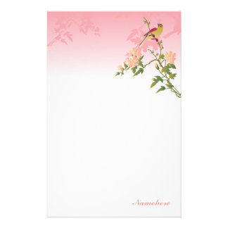 Customizable: Bird on Chinese blossom Stationery Design