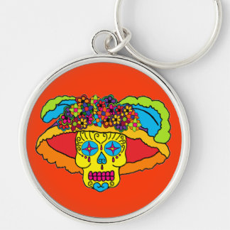 Customizable Catrina Sugar Skull Silver-Colored Round Key Ring