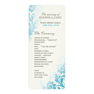 Customizable Classy Ombre Teal Wedding Program 10 Cm X 24 Cm Invitation Card
