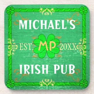 Customizable Home Bar Irish Pub Green Drink Coaster