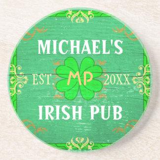 Customizable Home Bar Irish Pub Green Sandstone Coaster
