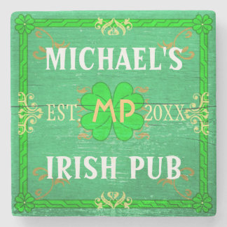 Customizable Home Bar Irish Pub Green Stone Beverage Coaster