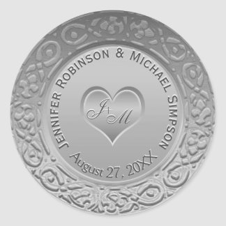 Customizable Monogram Silver Foil Look Wedding Round Sticker