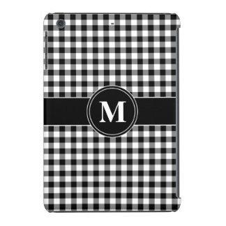Customizeable Monogram Black and White Gingham iPad Mini Cover