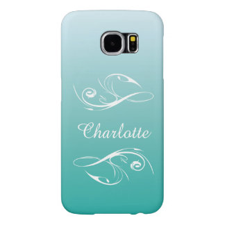 Customized Turquoise Floral Ombre Samsung Galaxy S6 Cases