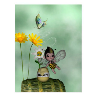 Cute Adorable Baby Bumble Bee Honey Postcard