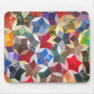 Cute adorable girly vintage patched quilt stars mouse pad